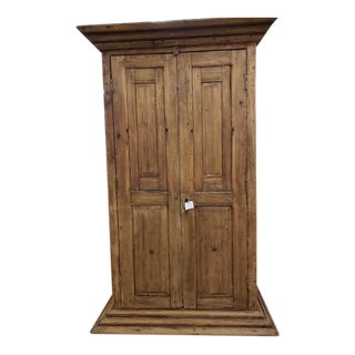Vintage Reclaimed Wood Armoire Storage Cabinet For Sale