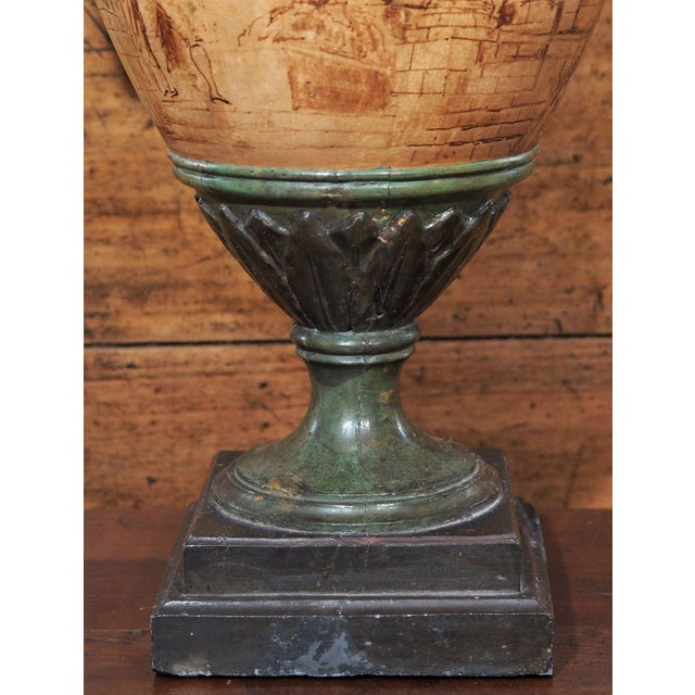 1940s Vintage Single Italian Painted Urn Lamp For Sale - Image 5 of 11