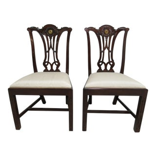 Maitland Smith Chippendale Pierce Carved C Dining / Side Chairs - a Pair For Sale