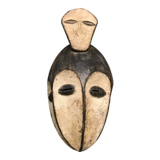 African Tribal Art Carved Wood Triple Face Lega Mask For Sale