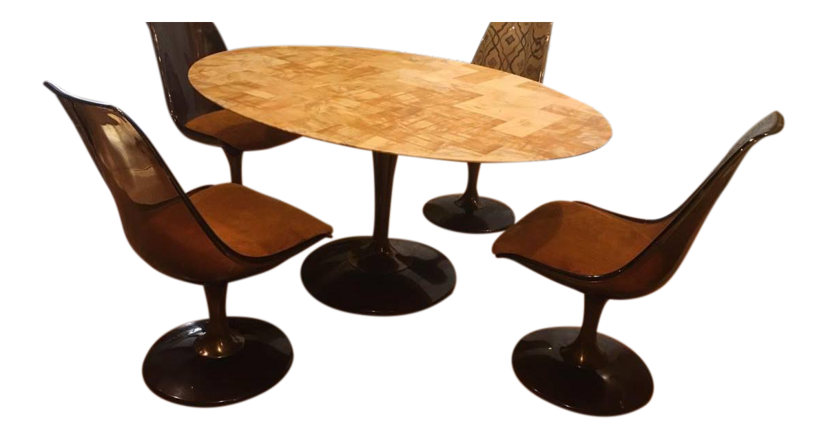 Mid Century Modern Chromcraft Amber Acrylic Dining Set With Shag Fabric  Chairs And Faux Marble Top