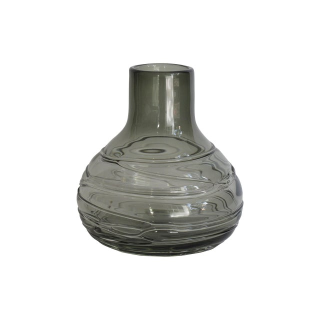 Blown Smoky Glass Vase with Applied Decoration - Image 1 of 4