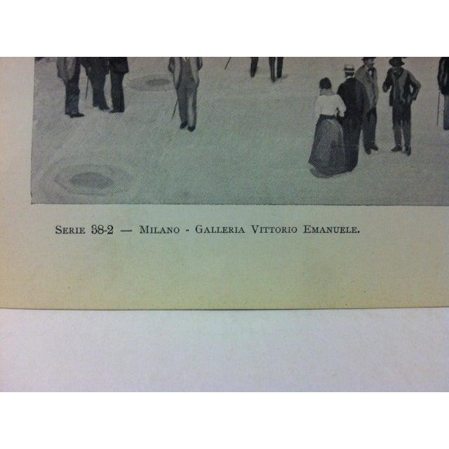 "Realism Circa 1930 ""Galleria Vittorio Emanuele"" Print of Milano Italy For Sale - Image 3 of 4"