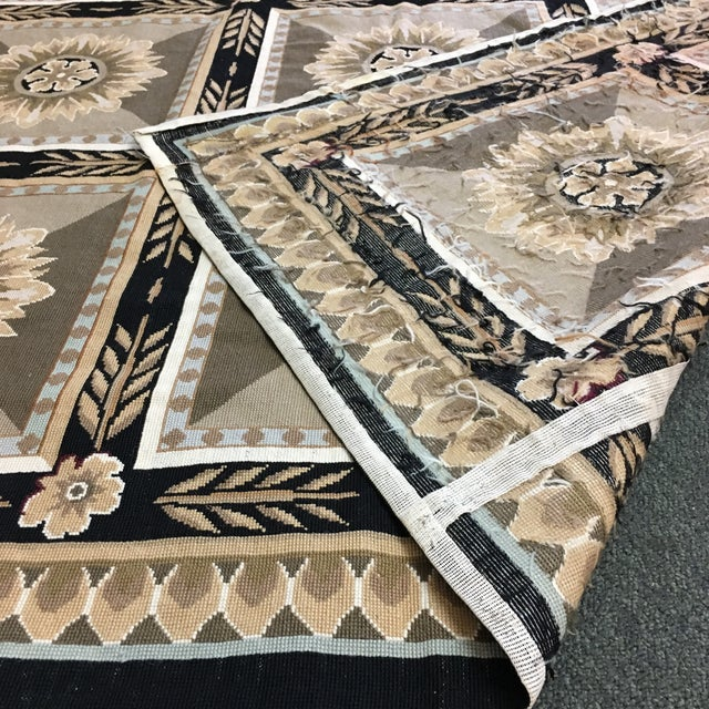 French Hand Woven Aubusson Needlepoint Area Rug - 5′5″ × 9′8″ - Image 6 of 11