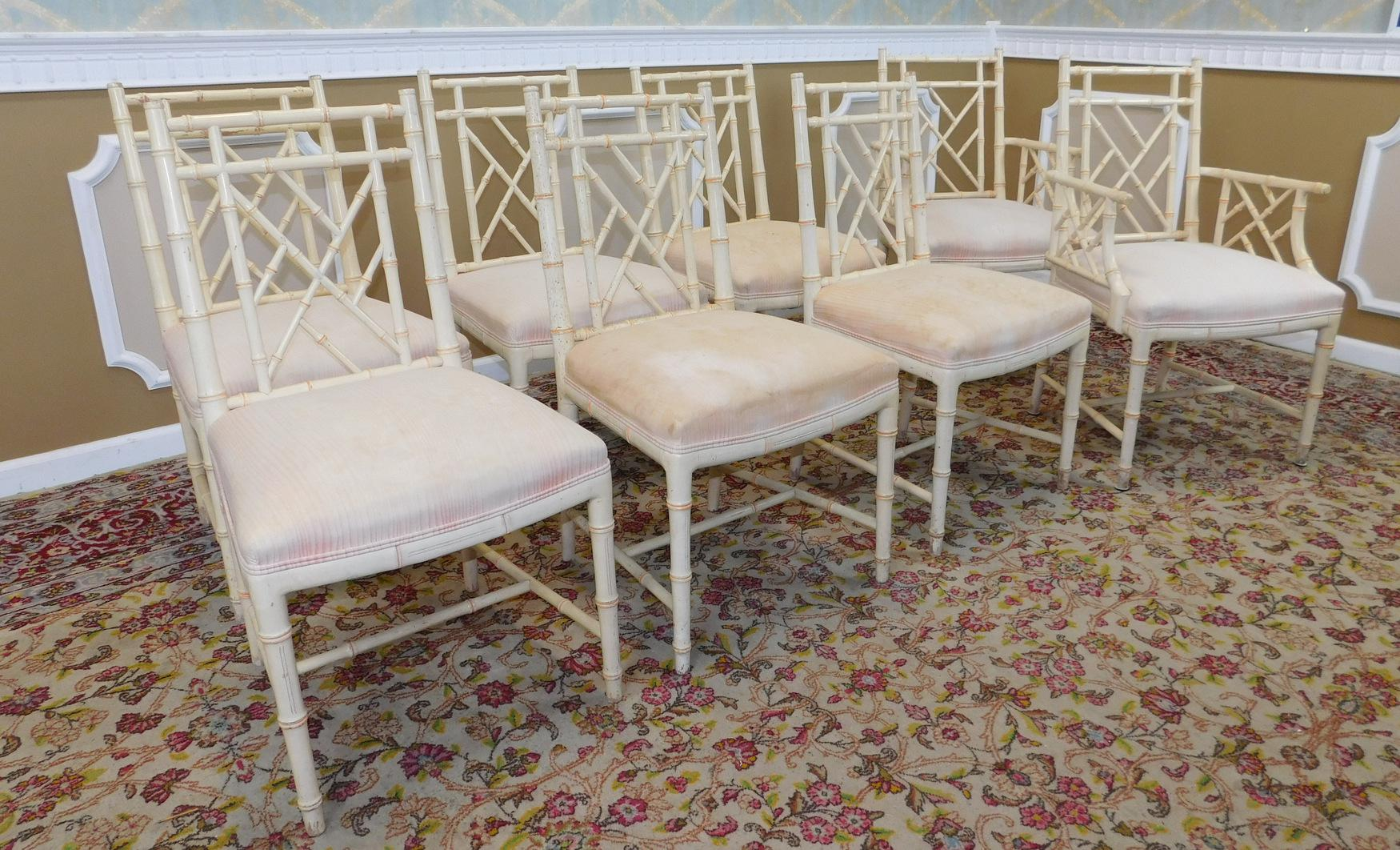 Charmant W U0026 J Sloane Furniture Rattan Chippendale Painted Dining Chairs   Set Of 8    Image