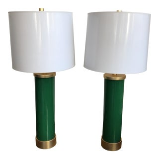 Green Lamps With Fuchsia Cording - a Pair
