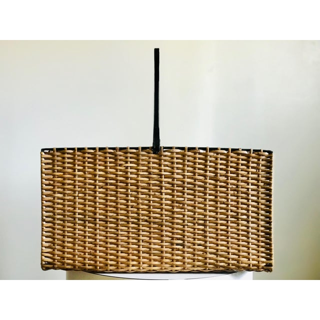 French Mid Century Rattan and Iron Magazine Rack For Sale - Image 3 of 12