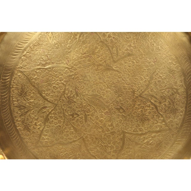 Vintage Moroccan Etched Brass Round Tray Table For Sale - Image 4 of 6