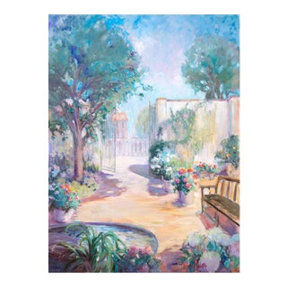 'Private Garden' by Loraine Balsillie, Large American Impressionist Oil, Australia, Hawaii For Sale