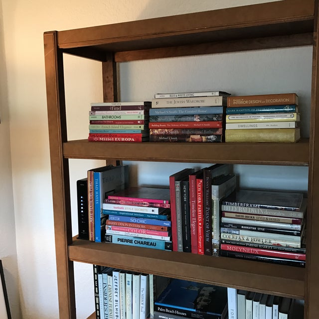 Custom Made Tall Parsons Style Rectangular Bookcase For Sale - Image 9 of 10