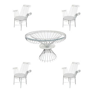Mathieu Mategot Model « Cap D'ail » Dining Set With Table and 4 Armchairs For Sale