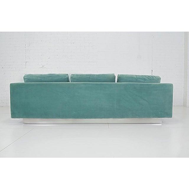 1960s 1960s Dunbar Velvet Tuxedo Sofa on Chrome Base, Edward Wormley For Sale - Image 5 of 9