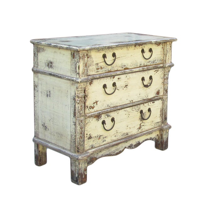 Rustic Yellow Cream Lacquer Three-Drawer Dresser - Image 2 of 2