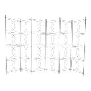 1950s Frederick Weinberg Six-Panel Art Deco Style Iron and Brass Room Divider For Sale