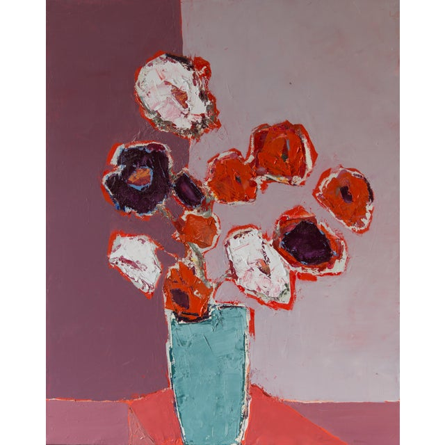 "Bill Tansey ""Mixed White Orange & Purple Bouquet"" Abstract Floral Oil on Canvas For Sale"
