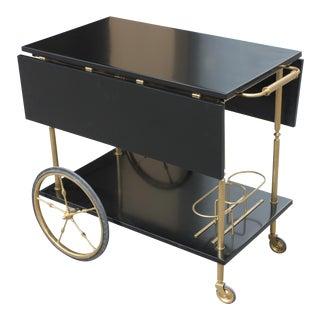 Beautiful Maison Jansen Ebonized Drop-Leaf Bar Cart Circa 1940s
