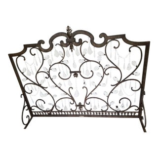 Crystal Fireplace Screen Bronze Finish Scrolled Iron Frame For Sale