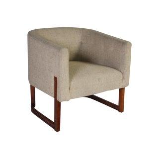 Milo Baughman Style Barrel Tub Chair