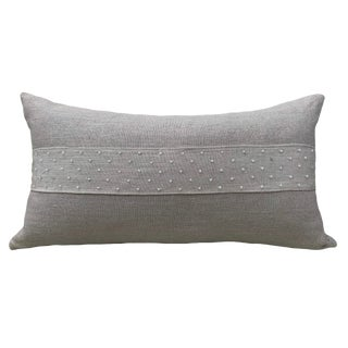 """French Country Linen Oblong Pillow With Beads - 23x13"""" For Sale"""