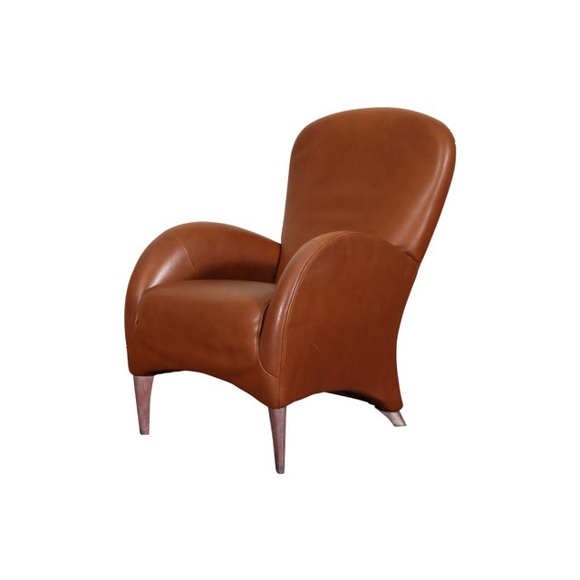 Vintage Molinari Tan Leather Armchair For Sale - Image 11 of 11