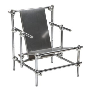 1970s Postmodern Rietveld Style Chromed Metal Lounge Chair For Sale