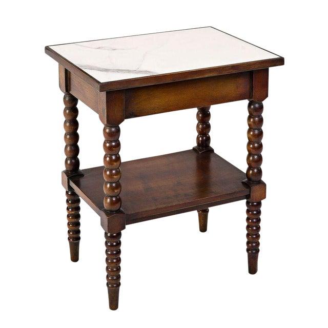 Sarreid LTD Calacatta Marble Top Side Table - Image 1 of 2