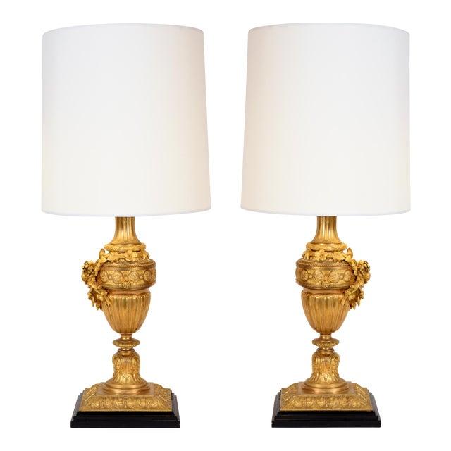 Louis XVI Style Doré Bronze Table Lamps - a Pair For Sale