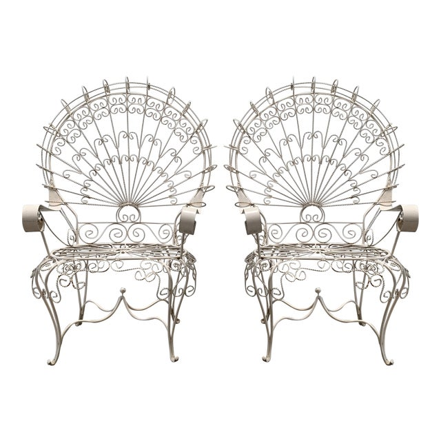 1960s Vintage Salterini Iron Peacock Chairs- a Pair For Sale