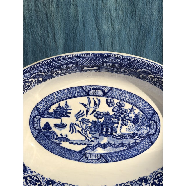 Asian 1930s Vintage Blue Willow Ware Serving Bowl 1930's by Homer Laughlin For Sale - Image 3 of 9