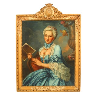 18th Century French Louis XVI Lady in a Blue Dress Oil Painting For Sale