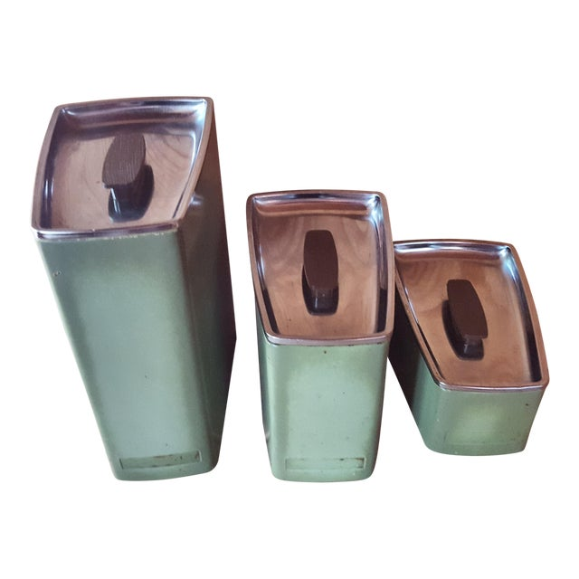 Vintage Avocado Green Kitchen Canister - Set of 3 - Image 1 of 7