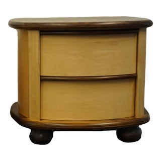 """Oakwood Interiors Contemporary Modern Maple and Walnut 29"""" Two Drawer Nightstand For Sale"""