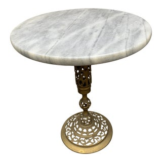 Mid-Century Hollywood Regency Marble and Brass Pedestal Table For Sale