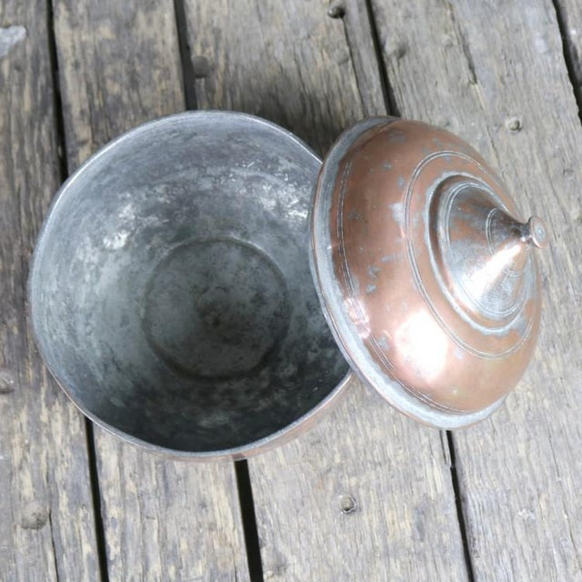 Antique Turkish Copper Medium Sized Footed Bowl With Lid Hand Forged Incised Tinned For Sale - Image 9 of 13