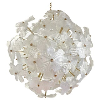 Contemporary Italian Brass & Satin White Murano Glass Flower Sputnik Chandelier For Sale