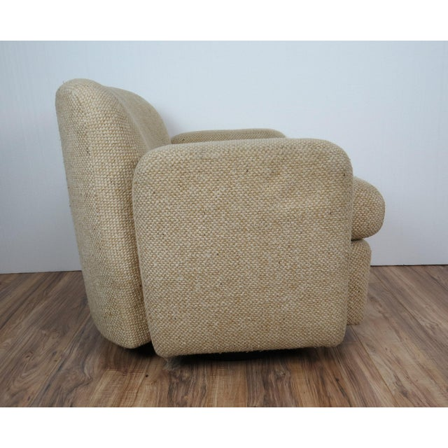 1970s Mid-Century Modern Wool Tweed Swivel Chairs by Preview - a Pair For Sale - Image 9 of 13
