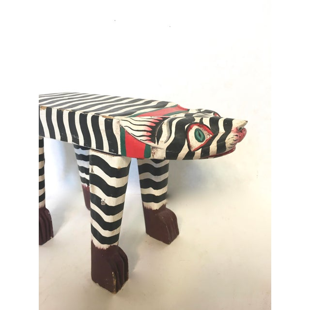 Folk Art Hand-Crafted Zebra Cat Footstool - Image 4 of 5