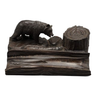 Antique Black Forest Carved Bear Inkwell & Pen Tray For Sale
