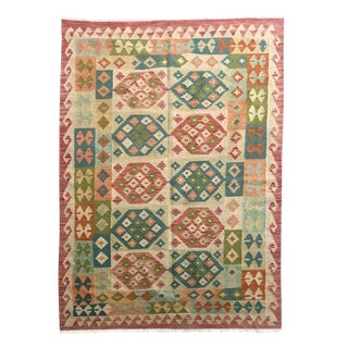 Boho Chic Multicolored All Wool Kilim - 4'7 X 6'9 For Sale