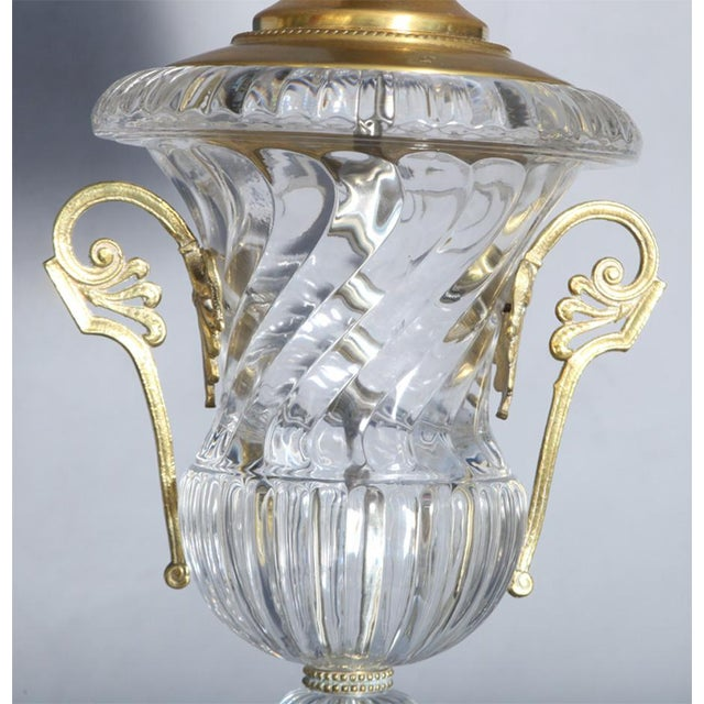 Paul Hanson Pair of Baccarat-Style Spiral Urn Glass Lamps For Sale - Image 4 of 8