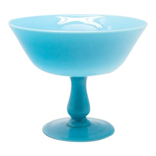 Large Blue Opaline Compote For Sale