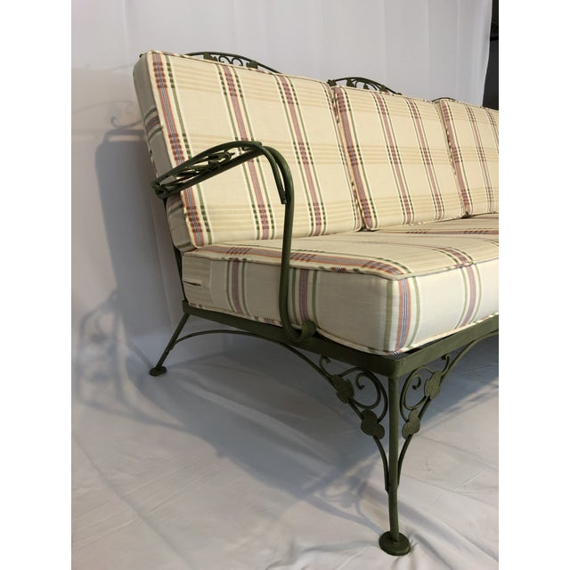 Vintage Woodard Style Wrought Iron Sofa For Sale In New York - Image 6 of 12