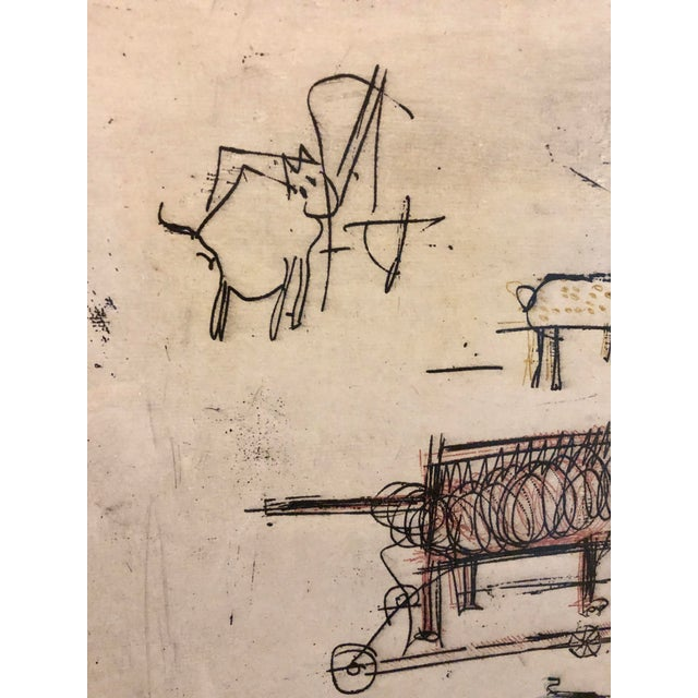 """1963 """"Artists Sketch Book"""" 7/25 Original Itaglio by Malcolm H. Myers, Framed For Sale - Image 9 of 13"""