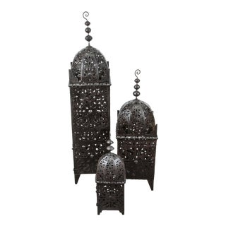 Set of Three Large Moroccan Hurricane Metal Candle Lanterns For Sale