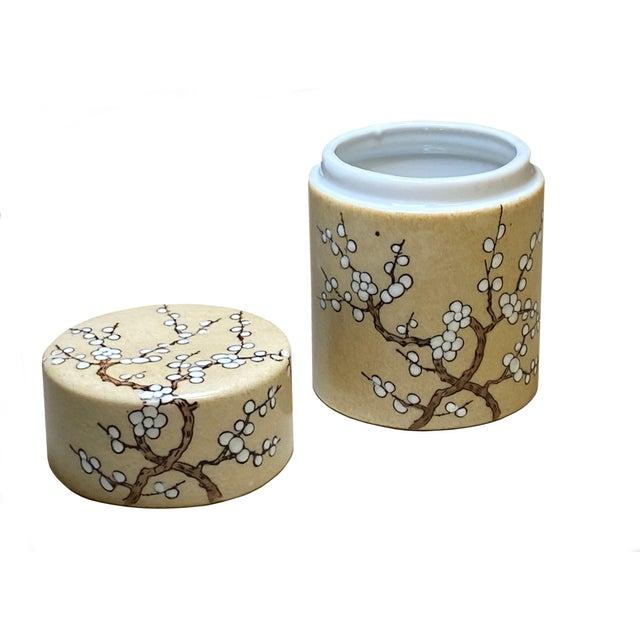 Asian Vintage Hong Kong Hand Painted Lidded Jar For Sale - Image 3 of 5