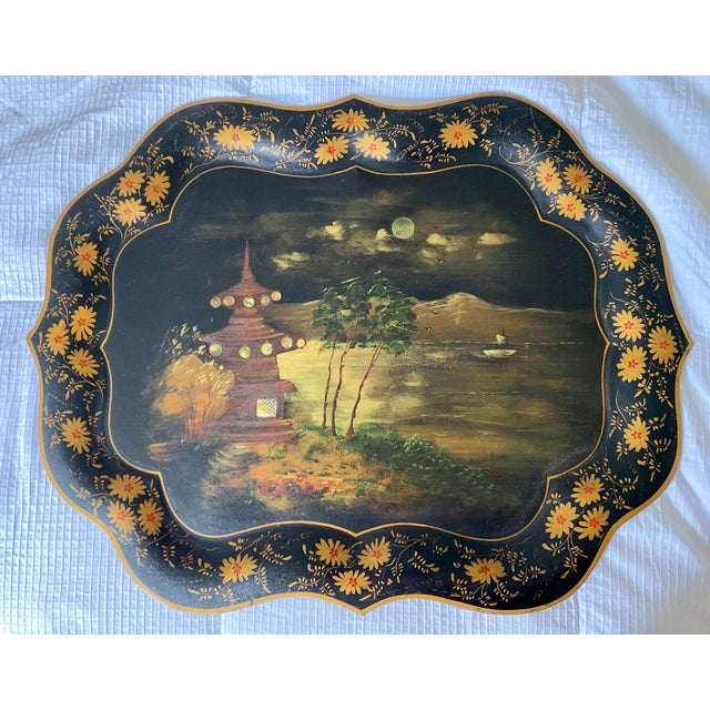 1920s Vintage Tole Chinoiserie Mother of Pearl Inlaid Hand-Painted Tray For Sale - Image 9 of 9