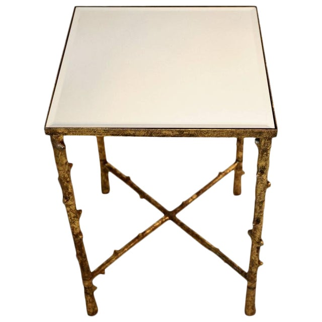 1980s Vintage Beveled Mirror Top Side Table For Sale