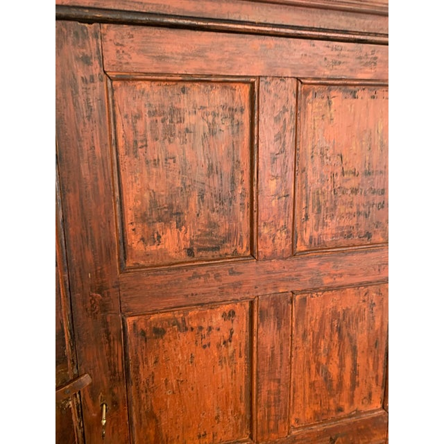 Orange Distressed Painted Vintage Vermont Cupboard For Sale - Image 8 of 9
