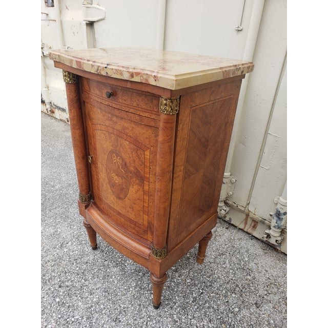19th Century Empire Burl Walnut Marquetry Marble Top Antique Bedside Cabinet or Side Table For Sale - Image 9 of 13