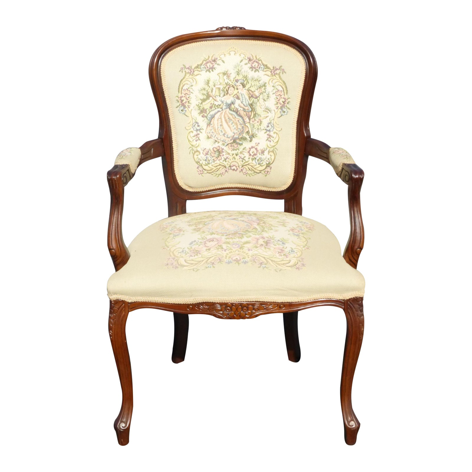 French Country Carved Wood Tapestry White Chair Chairish